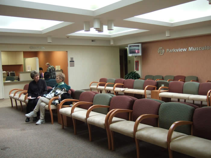 Reception area in a medical facility